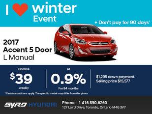 The 2017 Hyundai Accent 5 Door in Toronto!