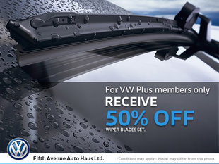 50% Off Wiper Blades for VW Plus Members