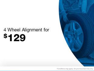 4 Wheel Alignment for $129