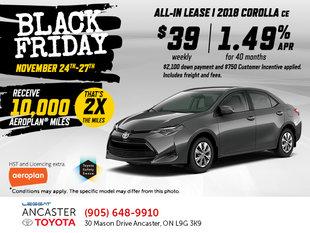 Black Friday - 2018 Corolla