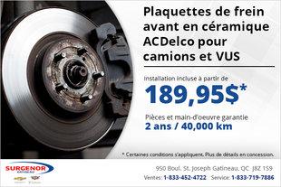 Plaquettes de frein avant  ACDelco Advantage pour camions et VUS