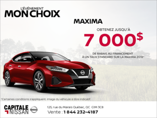 Obtenez la Nissan Maxima 2018 dès aujourd'hui! chez Capitale Nissan