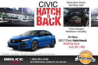 Save Big on the All-New 2017 Civic Hatchback!