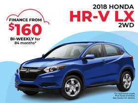 $160 Bi-Weekly Finance on the 2018 Honda HR-V LX
