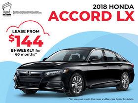 $144 Bi-Weekly Lease on the 2018 Honda Accord LX