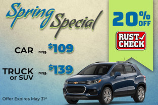 20% off Rust Check Undercoating in May!