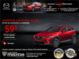 Obtenez la Mazda CX-3 2018 aujourd'hui!