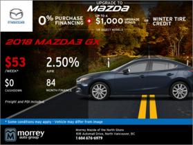 Get a 2018 Mazda3 GX at Morrey Mazda!