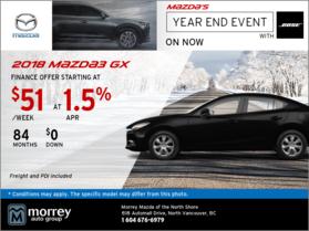 Get the 2018 Mazda3 GX at Morrey Mazda!