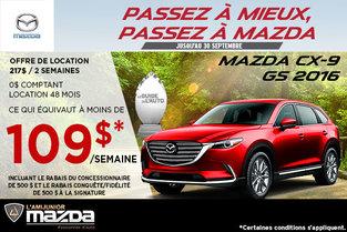 Louez la toute nouvelle Mazda CX-9 2016 à 109$ par semaine