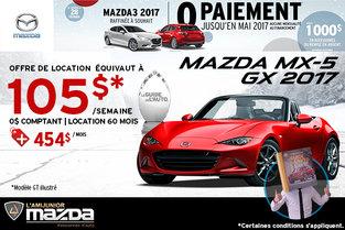 Louez la toute nouvelle Mazda MX-5 GX 2017
