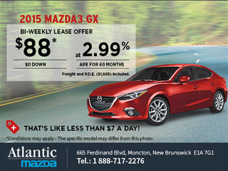 Save on an all-new 2015 Mazda3 GX today