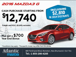 Save on an All-New 2016 Mazda3 G Today!