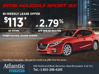 Save on an All-New 2016 Mazda3 Sport GX Today