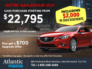 Get the 2016 Mazda6 GX Today!