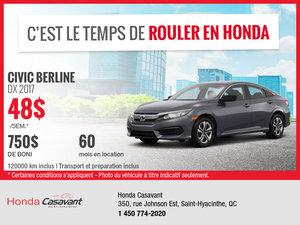 Honda Civic 2017 en location