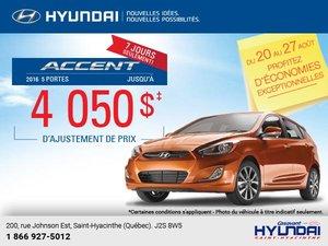 Obtenez la Hyundai Accent 5 portes 2016 aujourd'hui!