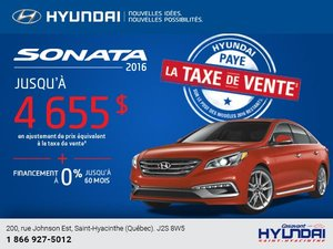 0% de financement sur la Hyundai Sonata 2016