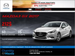 Louez la Mazda3 GX 2017 dès aujourd'hui!