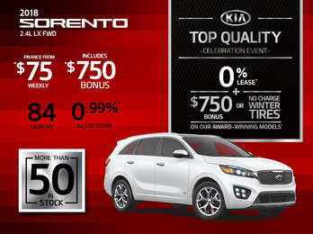 Save Big on the 2018 Kia Sorento