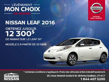 Économisez sur la Leaf 2016!