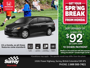 Drive Home a New 2017 Odyssey Today!