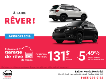 Louez la Honda Passport Sport 2019!