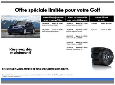 Promotion  spéciale pneus d'hiver pour votre Golf