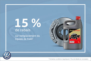 15% de rabais sur le remplacement de liquide de frein
