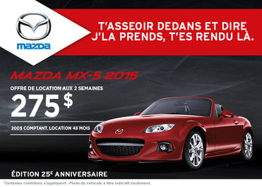 Louez la Mazda MX-5 2015 à partir de 275$ aux 2 semaines