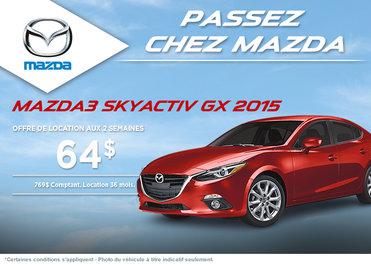 La toute nouvelle Mazda 3 2015 en location à partir de 64$ aux 2 semaines