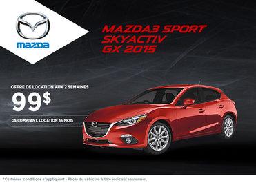 La Mazda 3 sport 2015 à la location à partir de 99$ aux 2 semaines