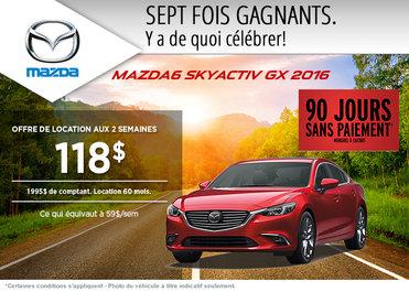 Louez la Mazda 6 GX 2016 à compter de 118$ aux 2 semaines