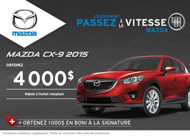 Le nouveau Mazda CX-9 2015 rabais allant jusqu'à 4000$