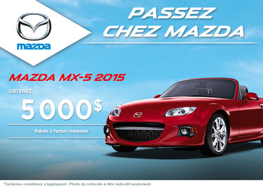 Achetez la Mazda MX-5 2015 avec rabais allant jusqu'à 5000$