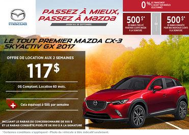 Louez le Mazda CX-3 2017 à partir de 117$ aux deux semaines