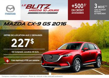 Louez la Mazda CX-9 GS 2016 à partir de 227$ aux 2 semaines