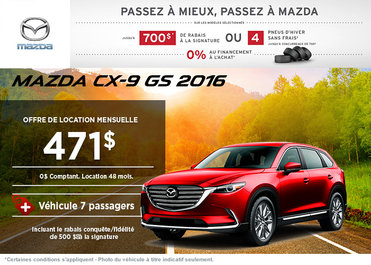 Louez la Mazda CX-9 GS 2016 à partir de 471$ / mois