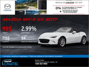 Obtenez la Mazda MX-5 GX 2017 aujourd'hui!