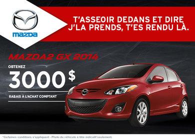 La nouvelle Mazda2 GX 2014 disponible avec rabais de 3000$
