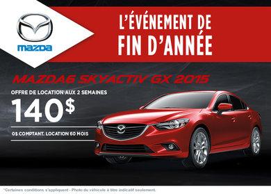Louez la Mazda 6 GX 2015  à compter de 140$ aux 2 semaines