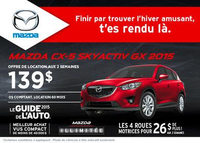 Louez la Mazda CX-5 GX 2015 à partir de 139$ aux 2 semaines