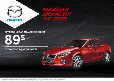 La toute nouvelle Mazda 3 2015 en location à partir de 89$ aux 2 semaines