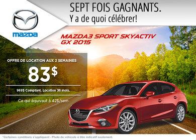 La Mazda 3 sport 2015 à la location à partir de 83$ aux 2 semaines