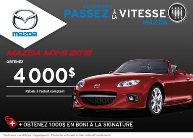Achetez la Mazda MX-5 2015 avec rabais allant jusqu'à 4000$