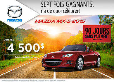 Achetez la Mazda MX-5 2015 avec un rabais allant jusqu'à 4500$