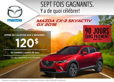 Louez le Mazda CX-3 2016 à partir de 120$ aux deux semaines