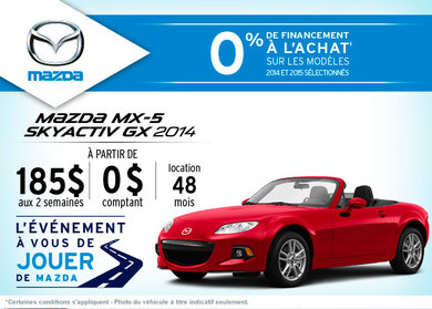 Louez la Mazda MX-5 2014 à partir de 185$ aux 2 semaines