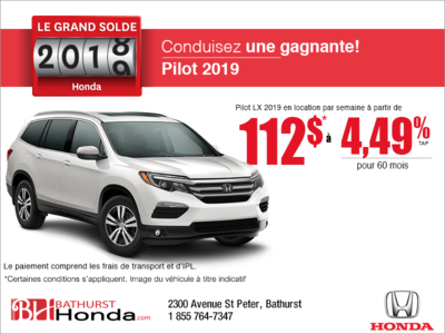 Louez le Honda Pilot 2019!