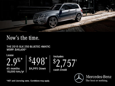 Lease the 2015 mercedes benz glk 250 for 498 ogilvie for Mercedes benz cpo lease